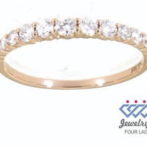 Solid Diamond Dainty Fine Ring For Women Rose Gold